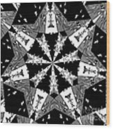 Children Animals Kaleidoscope Black And White Wood Print
