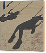 Children Cast Body Shadows In The Sand Wood Print