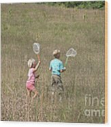Children Collecting Insects Wood Print by Ted Kinsman