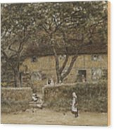Children Outside A Cottage Wood Print