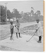 Children Playing Golf Wood Print