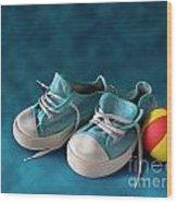 Children Sneakers Wood Print by Carlos Caetano