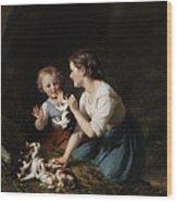 Children With Kitten Wood Print