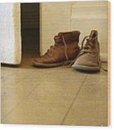 Child's Shoes By Open Door. Wood Print