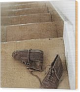 Child's Shoes By Stairs Wood Print