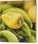 Chili And Lemon Wood Print