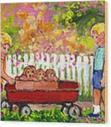 Chilrens Art-boy And Girl With Wagon And Puppies Wood Print