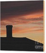 Chimney And Sunset Wood Print