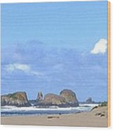 Chimneys Of Cannon Beach Wood Print
