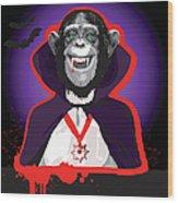 Chimpanzee In Dracula Costume Wood Print