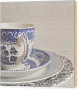 China Cup And Plates Wood Print by Lyn Randle