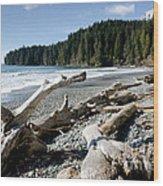 China Driftwood China Beach Juan De Fuca Provincial Park Bc Wood Print by Andy Smy