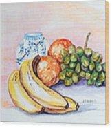 China Vase With Fruit Wood Print by Janna Columbus