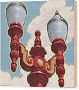 Chinatown Street Light Wood Print by Mitch Frey