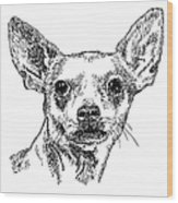 Chiwawa-portrait-drawing Wood Print