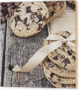 Chocolate Chip Cookies And Chocolate Chips Wood Print