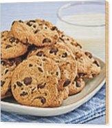Chocolate Chip Cookies And Milk Wood Print by Elena Elisseeva