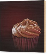 Chocolate Cupcake Isolated Wood Print by Jane Rix