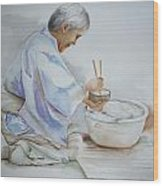Chopsticks Iv - Rice Bowl Wood Print