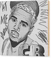 Chris Brown Cb Drawing Wood Print