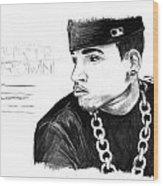 Chris Brown Drawing Wood Print by Kenal Louis