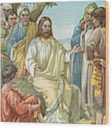 Christ And His Disciples Wood Print