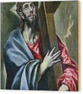 Christ Clasping The Cross Wood Print
