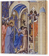 Christ Exorcising A Demon From A Possessed Youth: Illumination From The 15th Century Ms. Of The Tres Riches Heures Of Jean, Duke Of Berry Wood Print