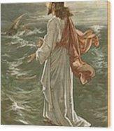 Christ Walking On The Waters Wood Print