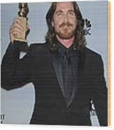Christian Bale In The Press Room Wood Print