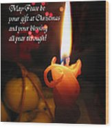 Christmas Candle Peace Greeting  Wood Print