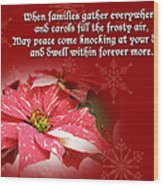 Christmas Card - Red And White Poinsettia Wood Print