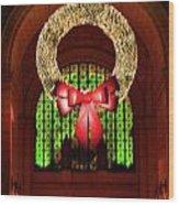 Christmas Card Wreath Color Wood Print