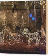 Christmas Carriages Wood Print by DigiArt Diaries by Vicky B Fuller