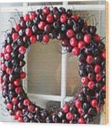 Christmas Cherry Wreath Wood Print