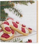 Christmas Cookies Decorated With Real Tree Branches Wood Print