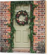 Christmas Door Wood Print
