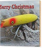 Christmas Greeting Card - Gibbs Darter Vintage Fishing Lure Wood Print