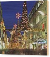 Christmas In Dublin, Henry Street At Wood Print