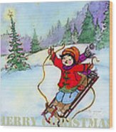Christmas Joy Child On Sled Wood Print