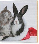 Christmas Kitten And Rabbit Wood Print