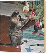 Christmas Kitten Playtime Wood Print