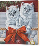 Christmas Kittens Wood Print