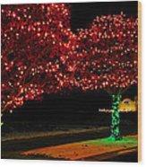 Christmas Lights Red And Green Wood Print