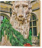 Christmas Lion At Biltmore Wood Print