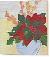 Christmas Poinsetta Wood Print