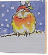 Christmas Robin Wood Print
