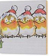Christmas Robins Wood Print