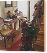 Christmas Rose And Stairs  Wood Print