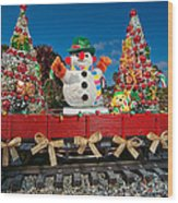 Christmas Snowman On Rails Wood Print